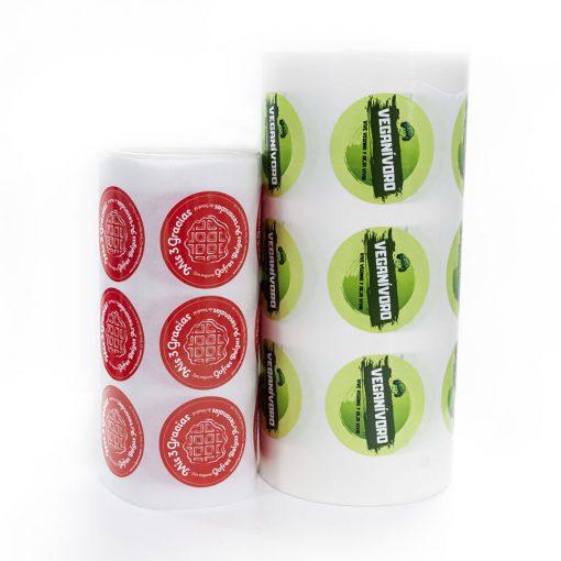 Etiquetas en bobinas redondas