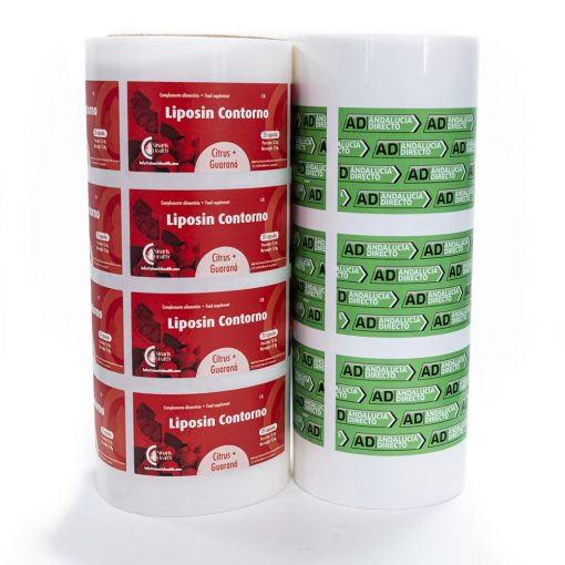 Etiquetas rectangulares en bobina