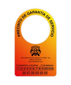 Etiqueta para extintor color degradado rojo y naranja