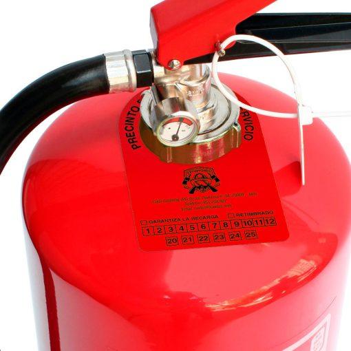 Etiqueta extintor de color roja